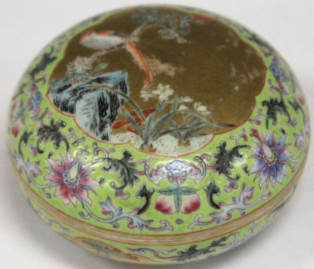 "QING DYNASTY PORCELAIN PAINTED BOX, 3"" D"