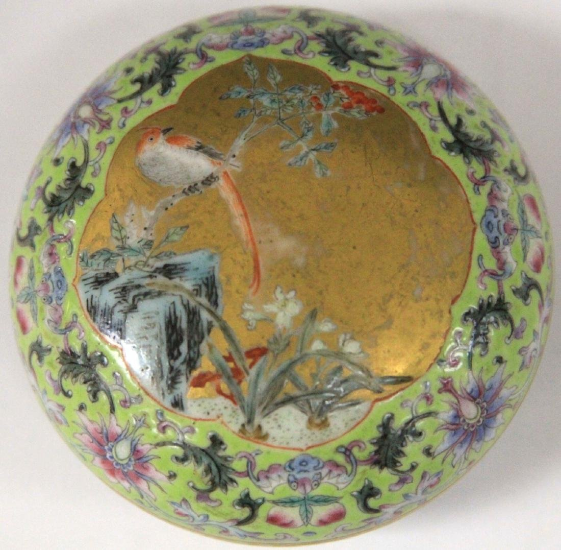 """QING DYNASTY PORCELAIN PAINTED BOX, 3"""" D - 2"""