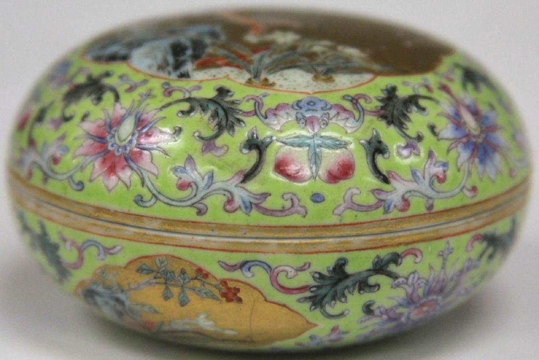 """QING DYNASTY PORCELAIN PAINTED BOX, 3"""" D - 3"""
