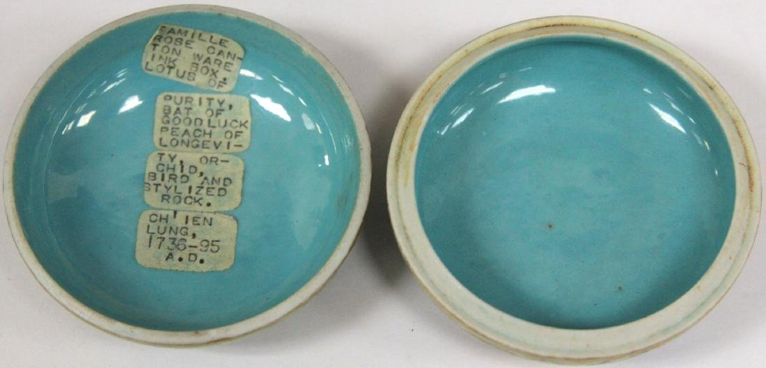 """QING DYNASTY PORCELAIN PAINTED BOX, 3"""" D - 4"""