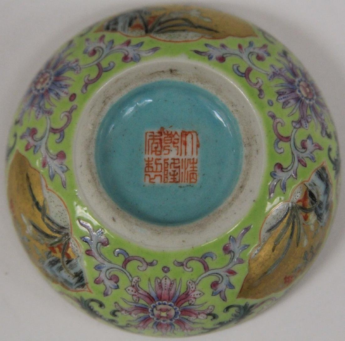 """QING DYNASTY PORCELAIN PAINTED BOX, 3"""" D - 6"""