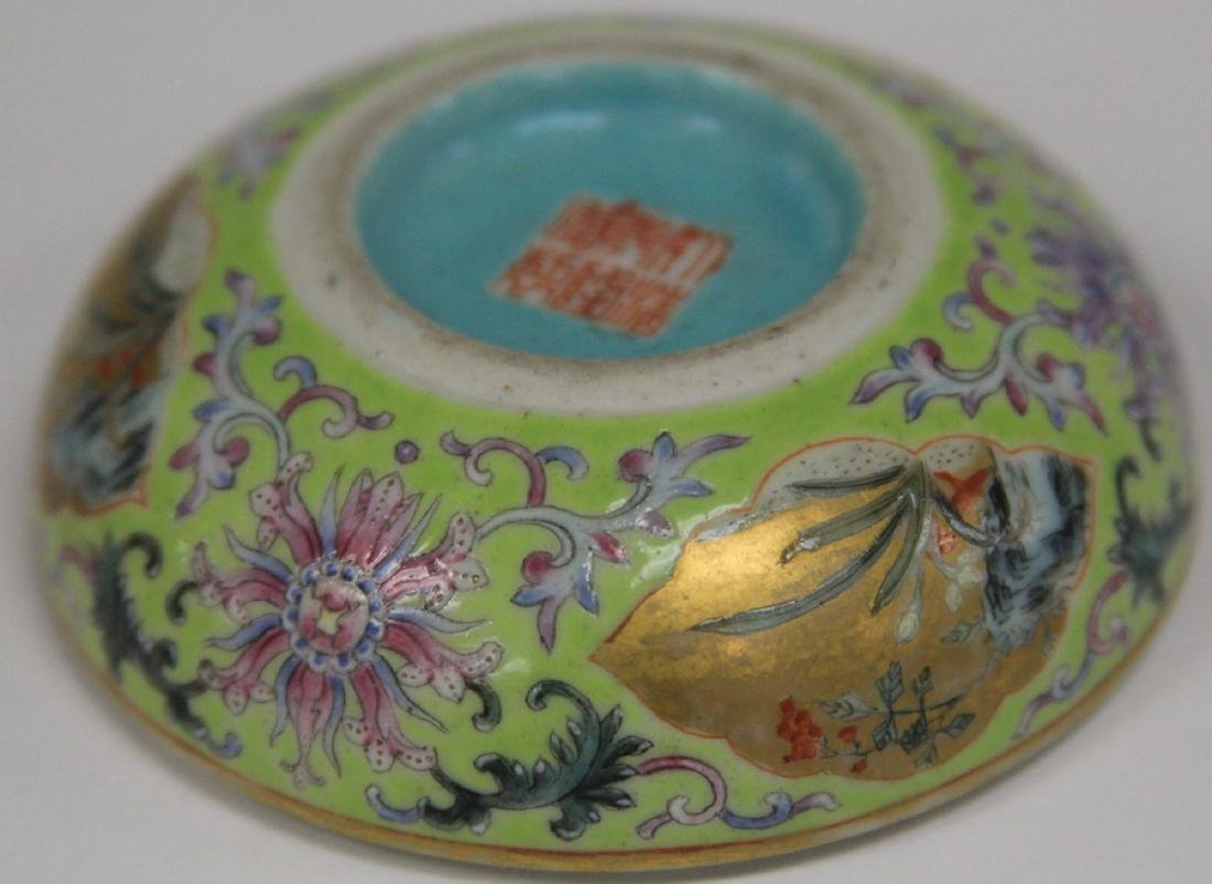 """QING DYNASTY PORCELAIN PAINTED BOX, 3"""" D - 7"""
