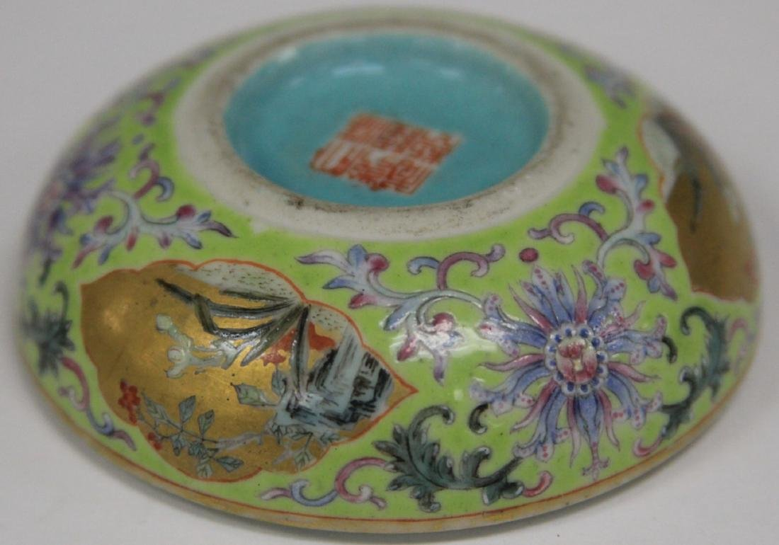 """QING DYNASTY PORCELAIN PAINTED BOX, 3"""" D - 8"""