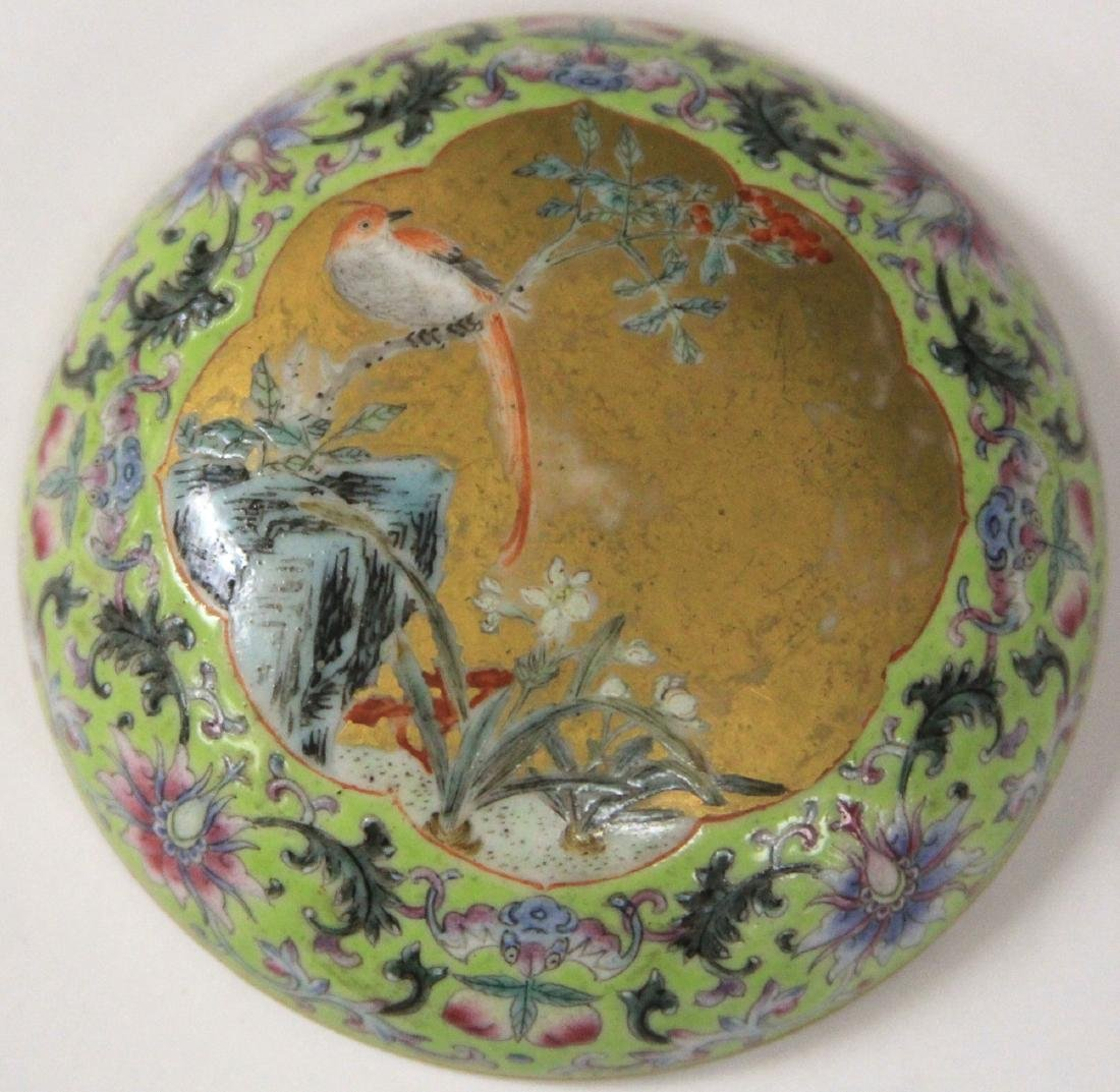 """QING DYNASTY PORCELAIN PAINTED BOX, 3"""" D - 9"""
