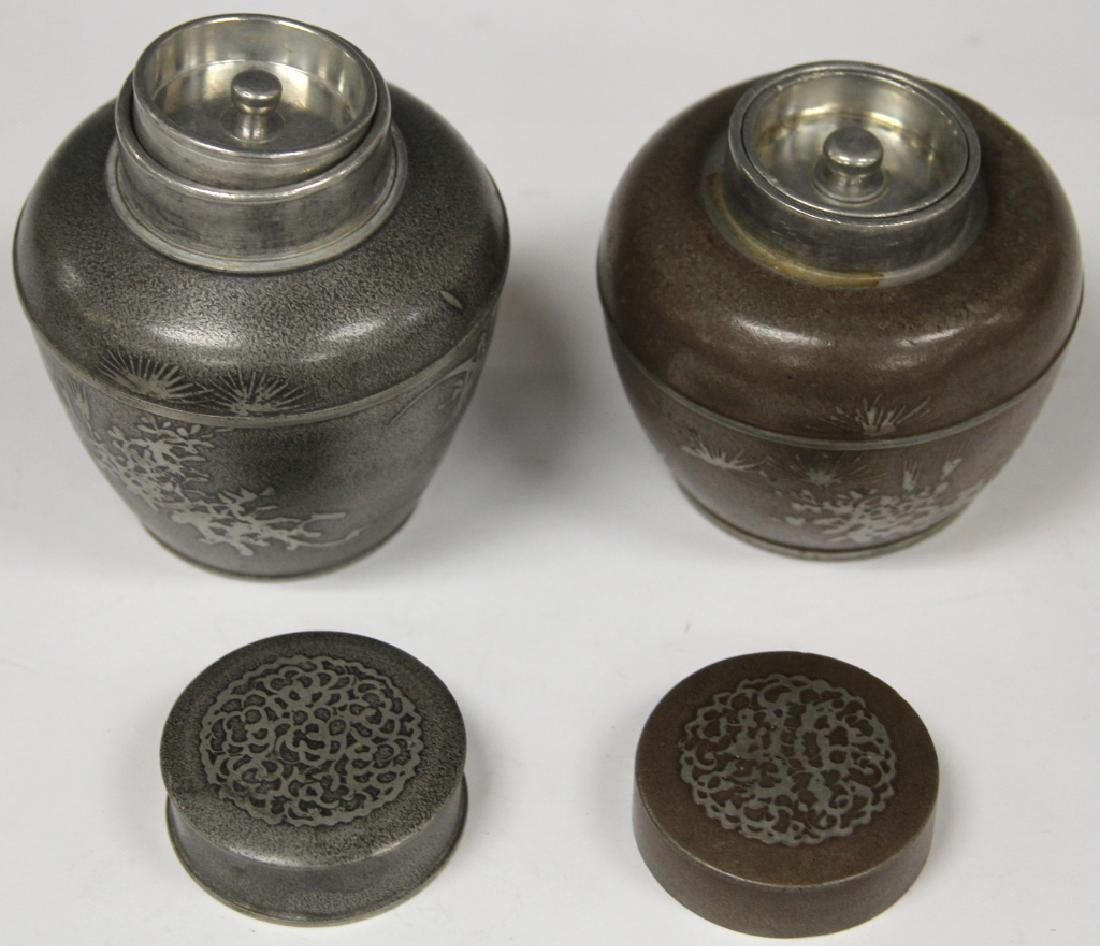 LOT OF (8) VINTAGE CHINESE PEWTER JARS/CUPS - 3