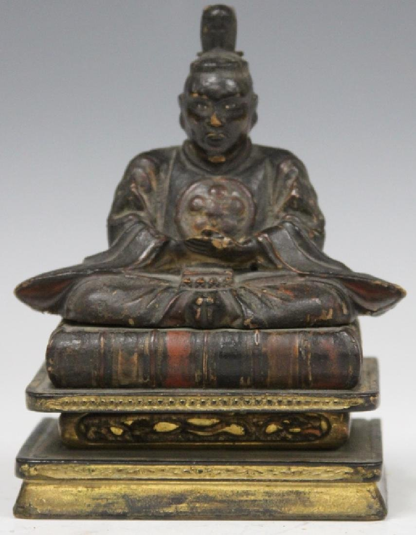 """19TH C. CARVED LACQUERED STATUE OF SCHOLAR, 6"""" H"""