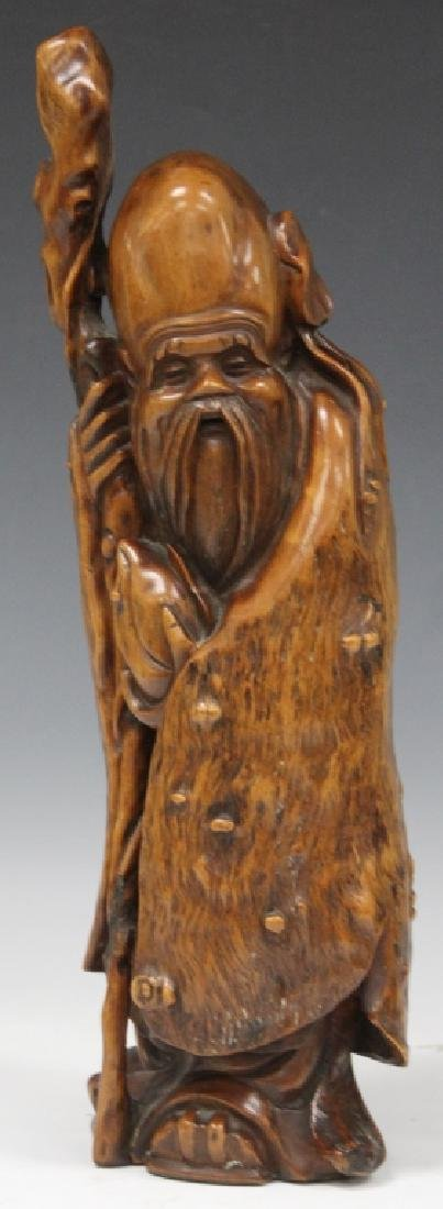 "EARLY CHINESE ROOTWOOD LOHAN STATUE, 17"" H"