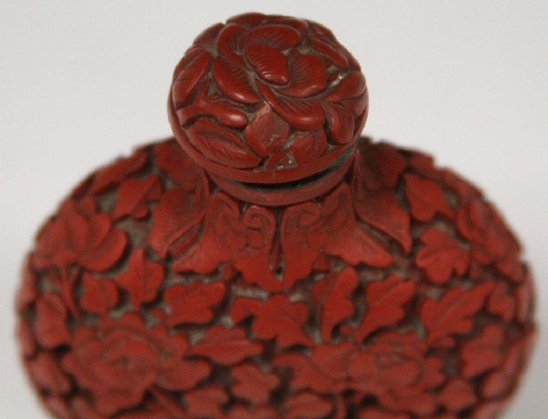 CHINESE CINNABAR CARVED SNUFF BOTTLE - 2