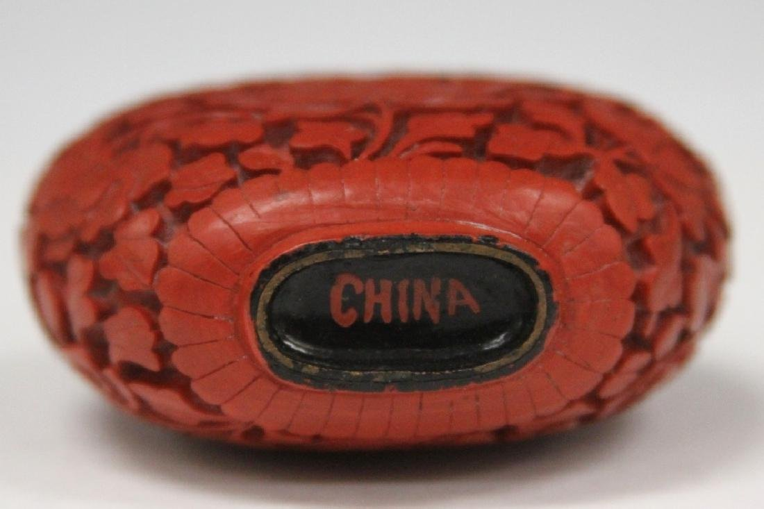 CHINESE CINNABAR CARVED SNUFF BOTTLE - 3