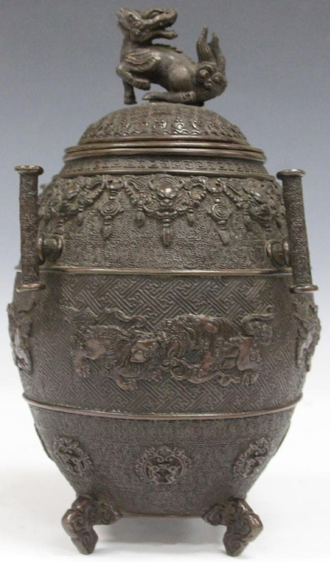 """EARLY JAPANESE CAST METAL FOOTED CENSER, 9 1/2"""" H"""