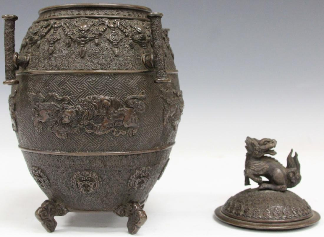 """EARLY JAPANESE CAST METAL FOOTED CENSER, 9 1/2"""" H - 2"""