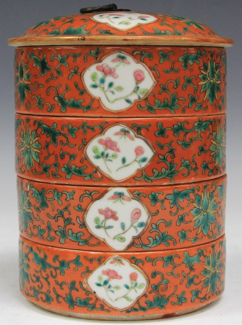 SET OF (4) CHINESE PORCELAIN STACKING BOWLS W/ LID