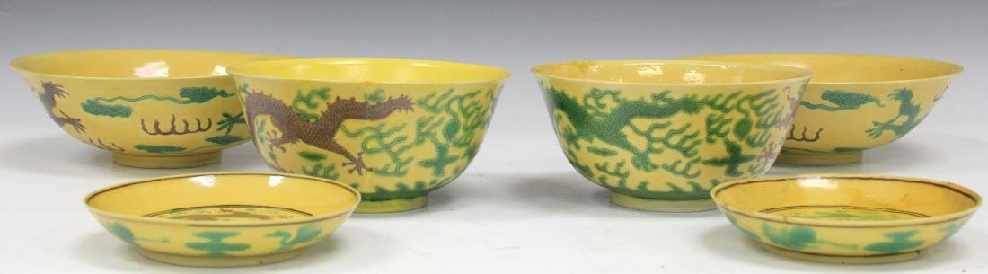 SET OF (6) 19TH C. CHINESE PORCELAIN DRAGON BOWLS