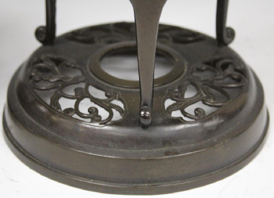 PAIR OF JAPANESE CAST BRONZE CANDLE STANDS - 3