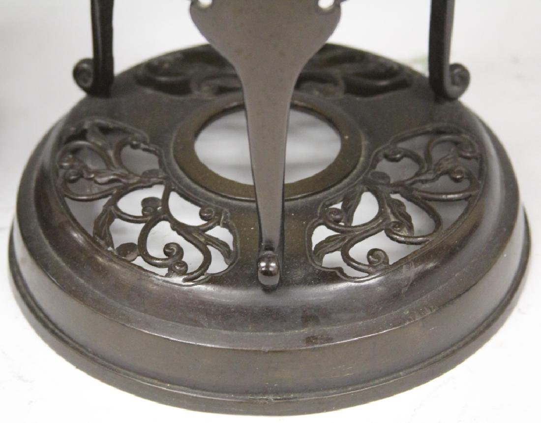 PAIR OF JAPANESE CAST BRONZE CANDLE STANDS - 5