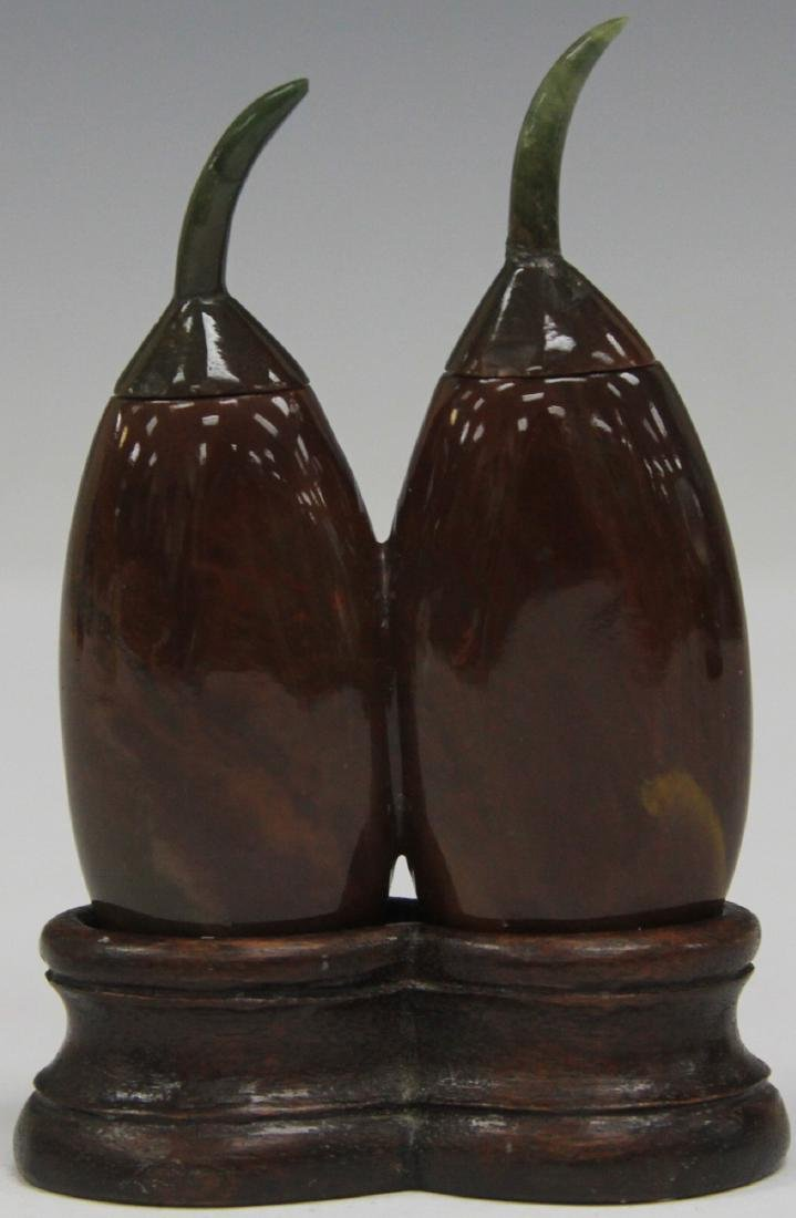 CHINESE AGATE DOUBLE SNUFF BOTTLE W/ STAND - 2