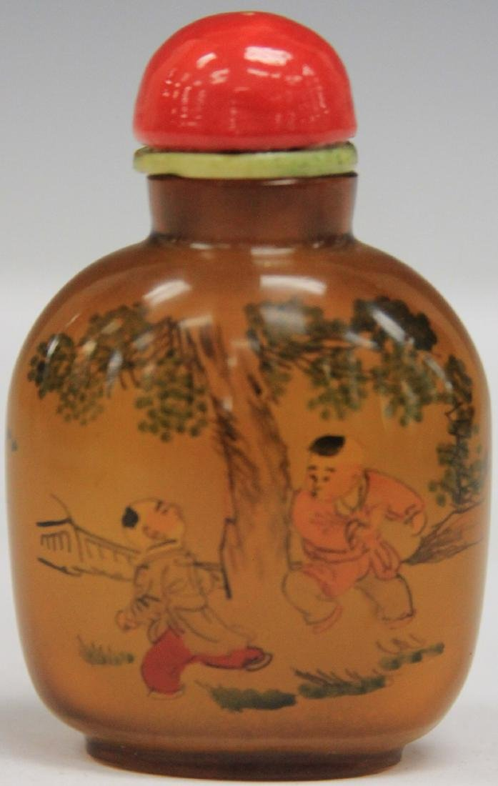 CHINESE REVERSE PAINTED GLASS SNUFF BOTTLE - 2