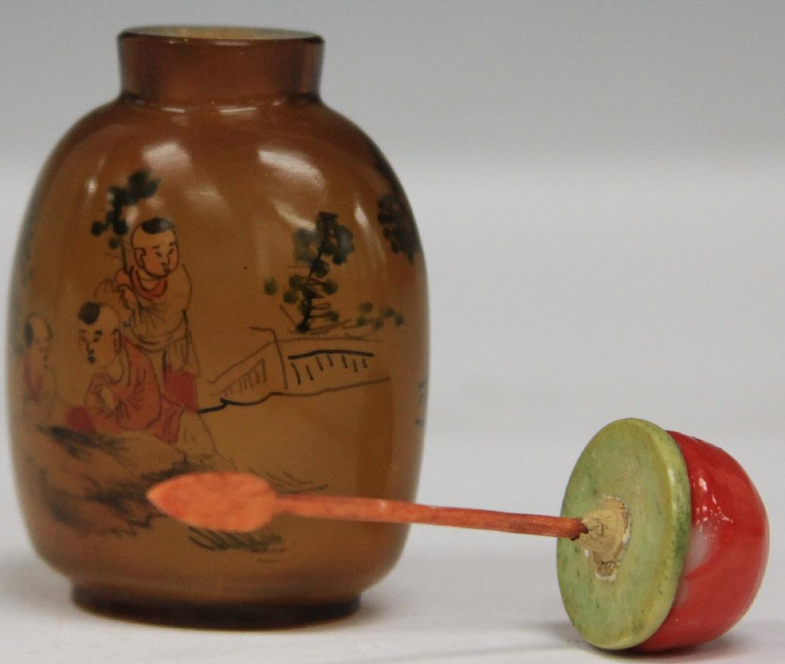 CHINESE REVERSE PAINTED GLASS SNUFF BOTTLE - 3