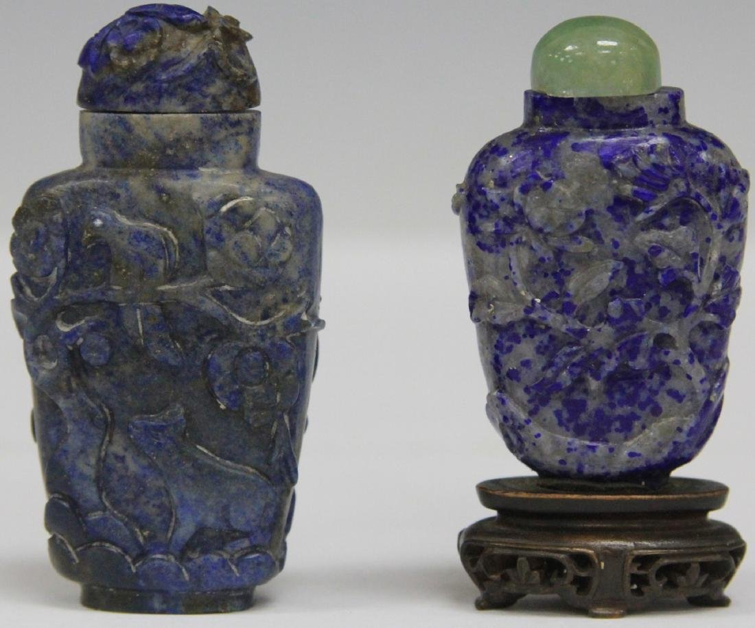 LOT OF (2) CHINESE LAPIS SNUFF BOTTLES - 2