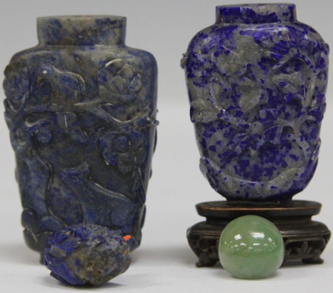 LOT OF (2) CHINESE LAPIS SNUFF BOTTLES - 4