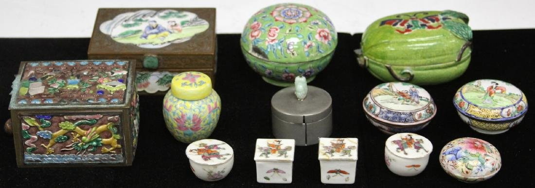 LOT OF (13) VINTAGE CHINESE PORCELAIN BOXES
