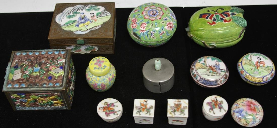 LOT OF (13) VINTAGE CHINESE PORCELAIN BOXES - 2