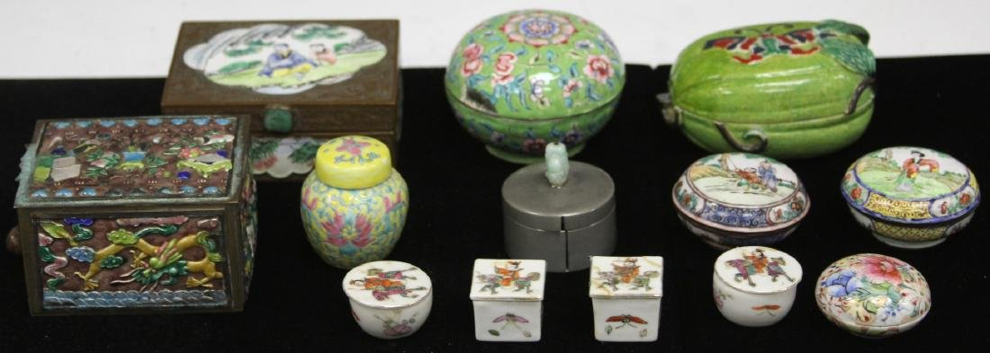 LOT OF (13) VINTAGE CHINESE PORCELAIN BOXES - 3