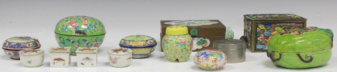 LOT OF (13) VINTAGE CHINESE PORCELAIN BOXES - 4