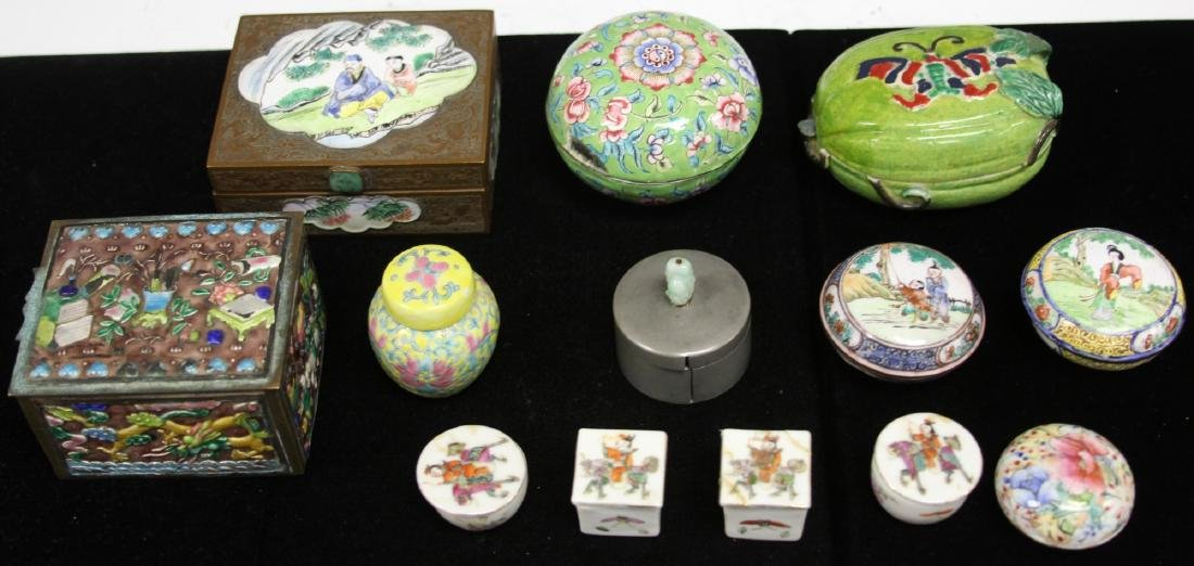 LOT OF (13) VINTAGE CHINESE PORCELAIN BOXES - 7