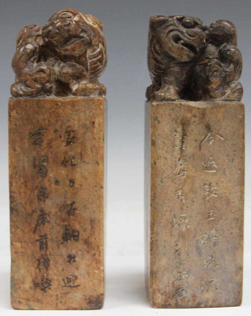 "PAIR OF CHINESE CARVED SOAP STONE SEALS, 7"" H"