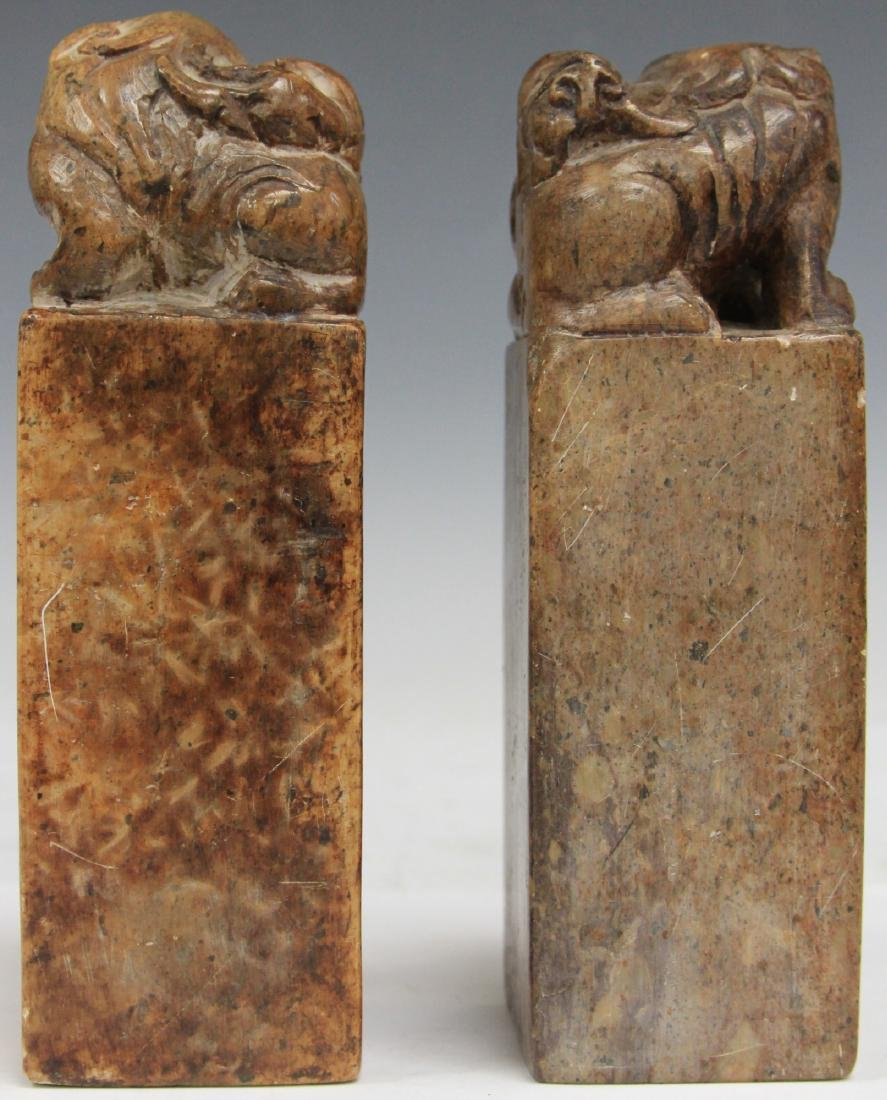"PAIR OF CHINESE CARVED SOAP STONE SEALS, 7"" H - 2"