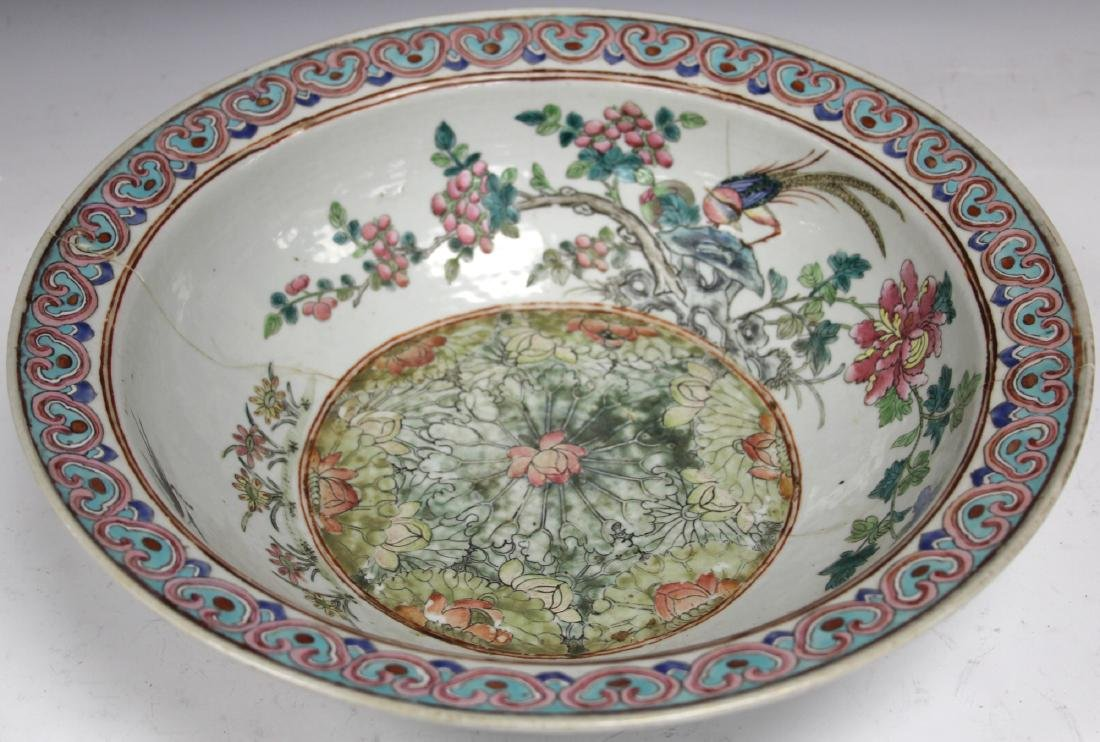 """CHINESE PORCELAIN PAINTED CENTER BOWL, 16"""" D"""