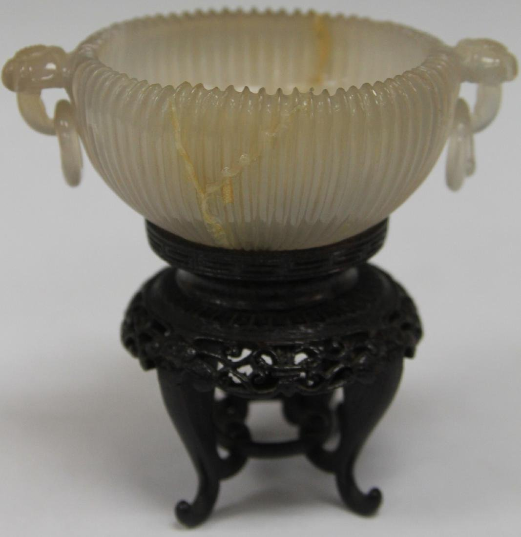 QING DYNASTY AGATE BOWL WITH STAND
