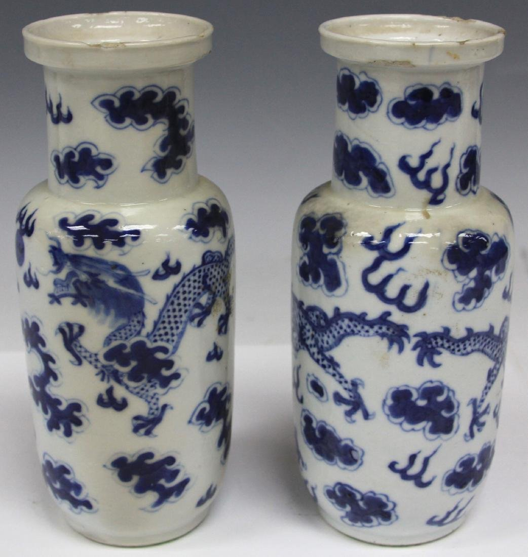 PAIR OF QING DYNASTY BLUE & WHITE PORCELAIN VASES - 3