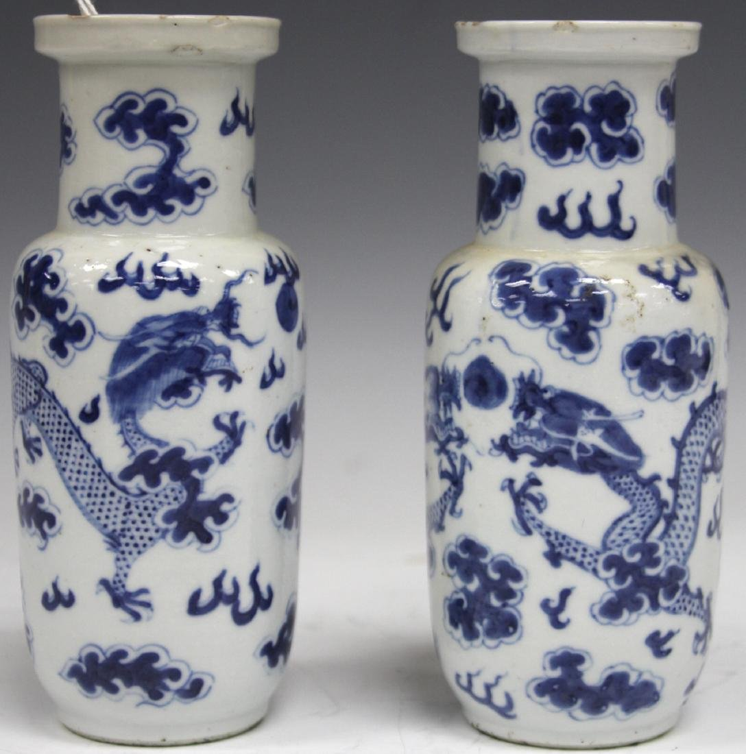 PAIR OF QING DYNASTY BLUE & WHITE PORCELAIN VASES - 5