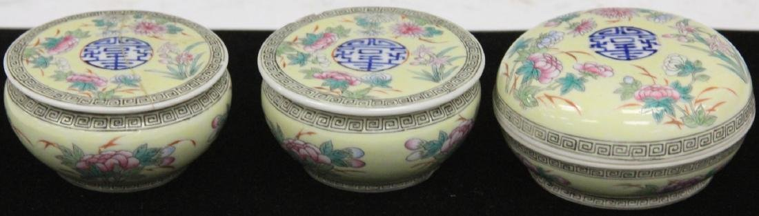 LOT OF (3) CHINESE PORCELAIN COVERED BOXES