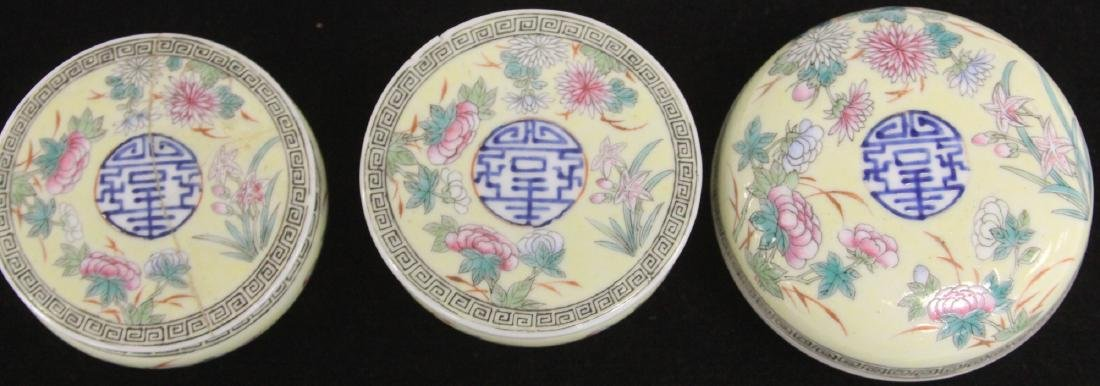 LOT OF (3) CHINESE PORCELAIN COVERED BOXES - 2