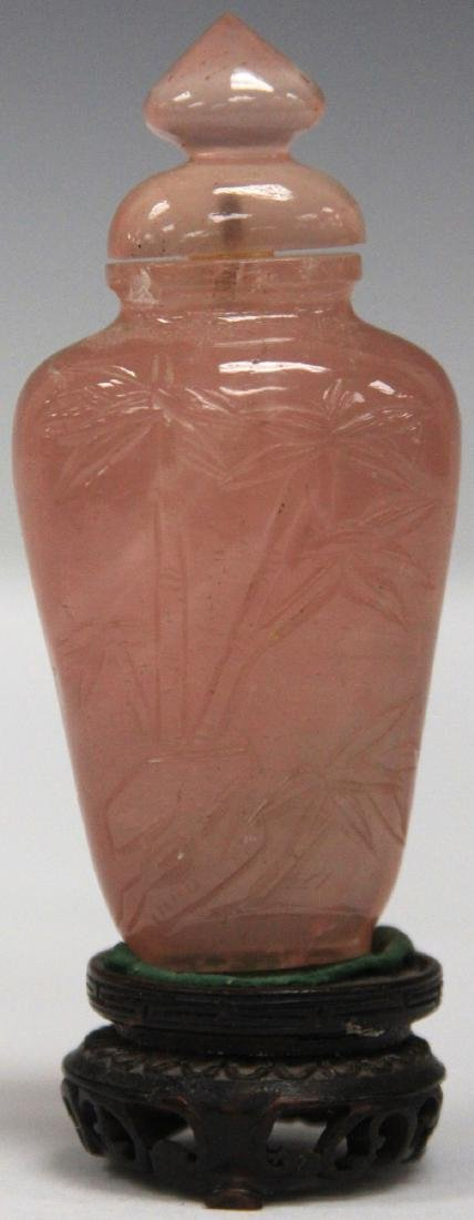 CHINESE ROSE QUARTZ SNUFF BOTTLE W/ STAND - 2
