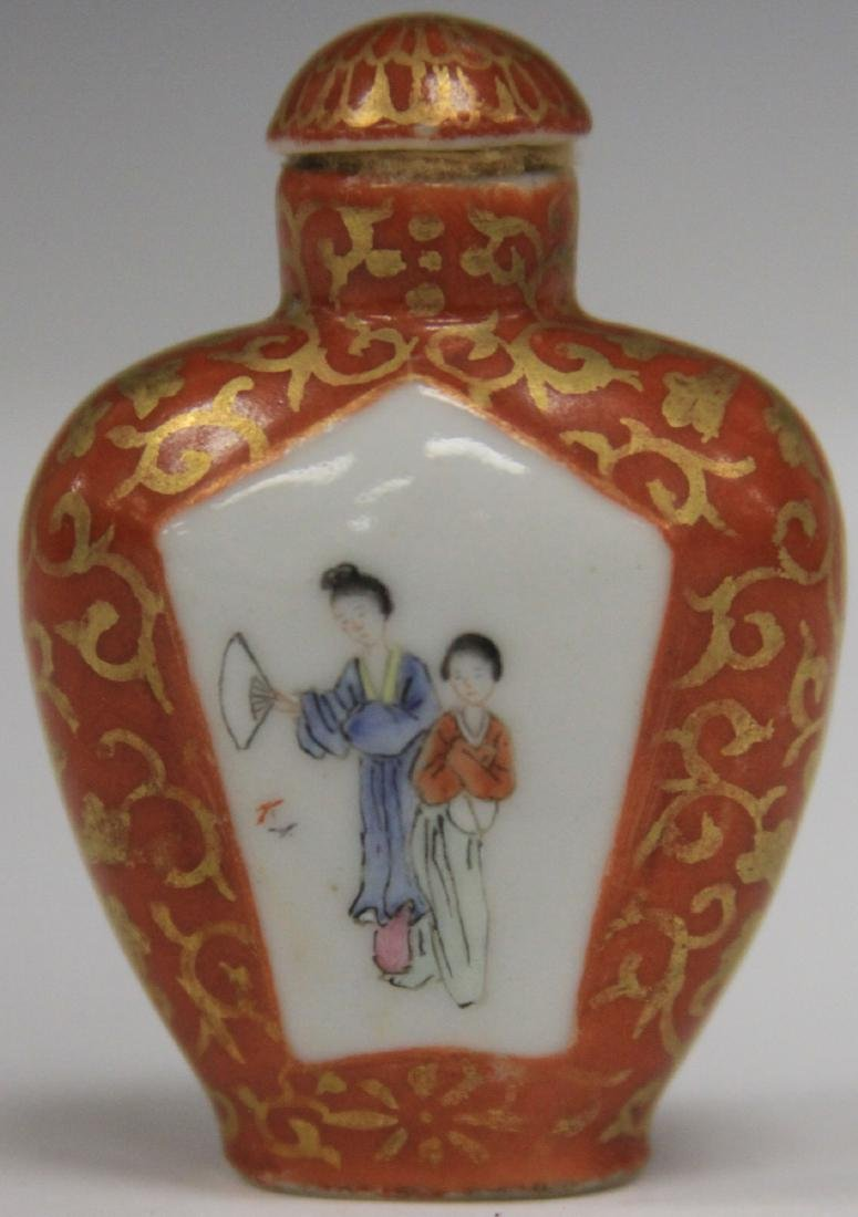 VINTAGE CHINESE PORCELAIN PAINTED SNUFF BOTTLE