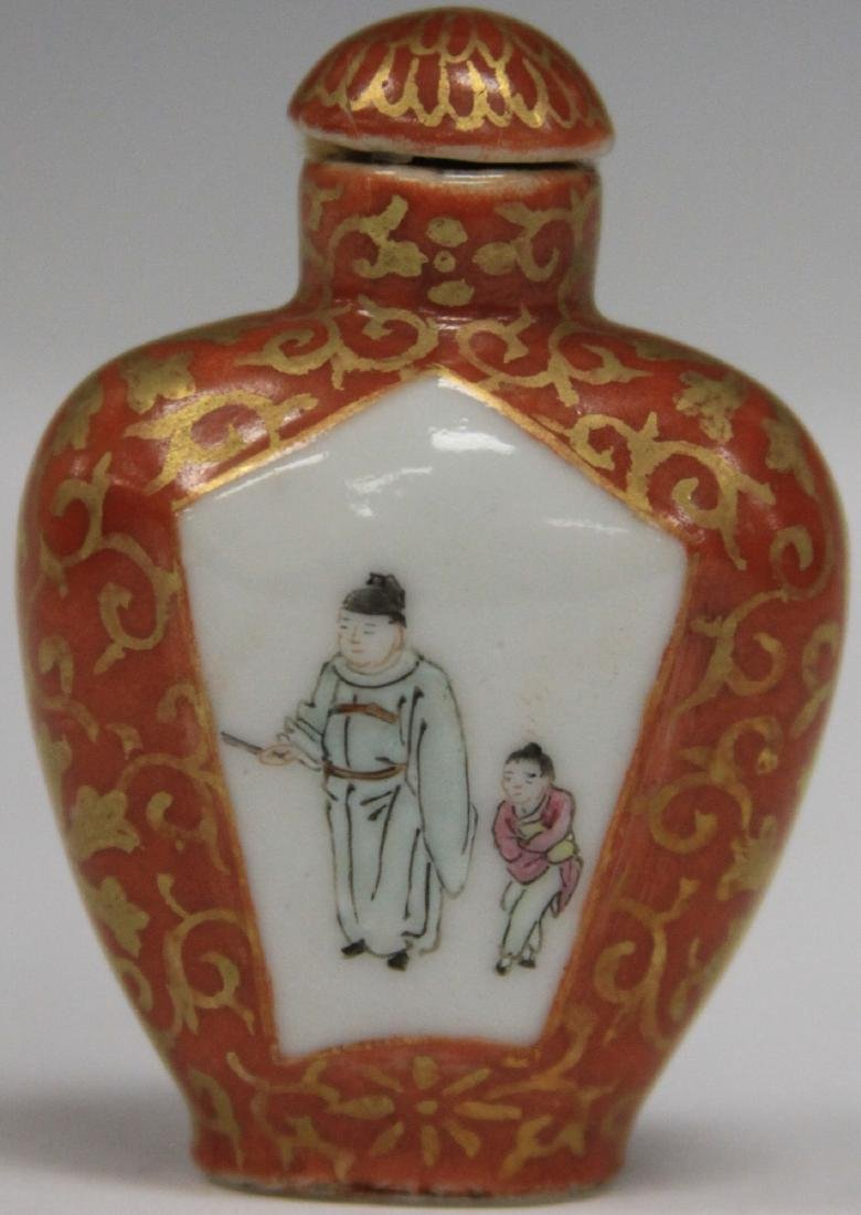 VINTAGE CHINESE PORCELAIN PAINTED SNUFF BOTTLE - 2