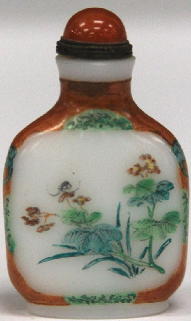 CHINESE PAINTED GLASS SNUFF BOTTLE