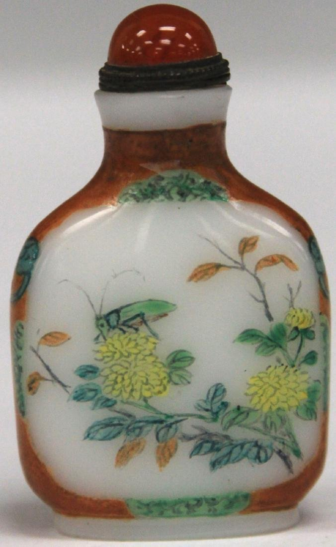 CHINESE PAINTED GLASS SNUFF BOTTLE - 2