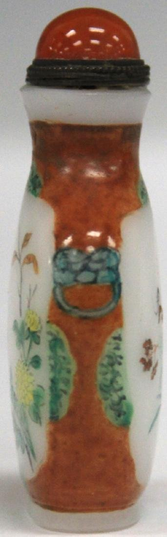 CHINESE PAINTED GLASS SNUFF BOTTLE - 3