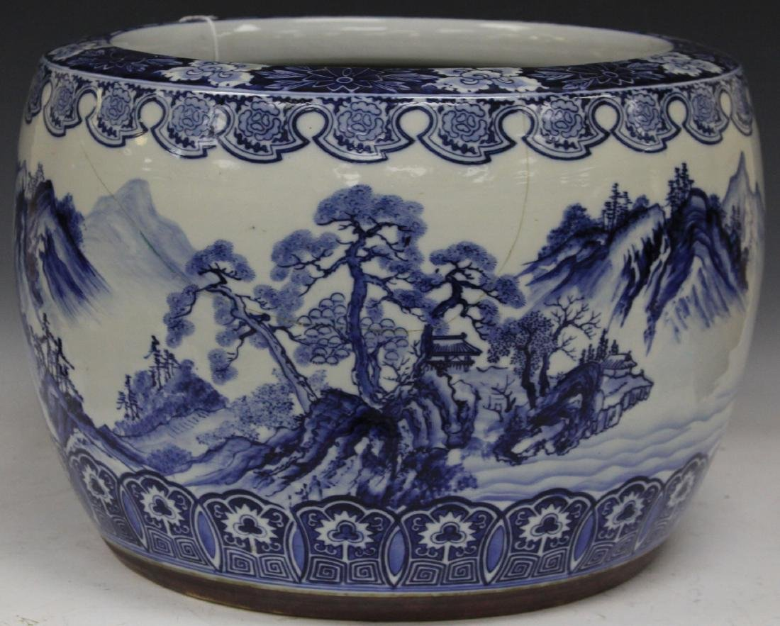 "CHINESE BLUE & WHITE JARDINIERE, 18"" D"