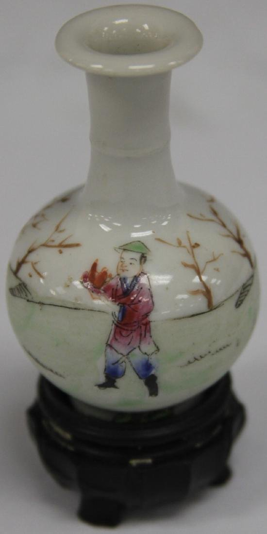 "REPUBLIC PERIOD PAINTED PORCELAIN VASE, 2 3/4"" H - 2"