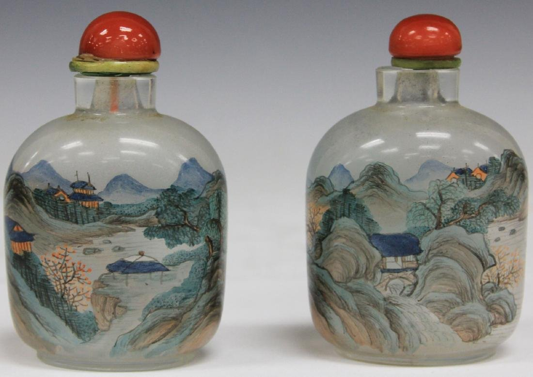 """PAIR OF CHINESE GLASS SNUFF BOTTLES, 3 1/2"""" H"""