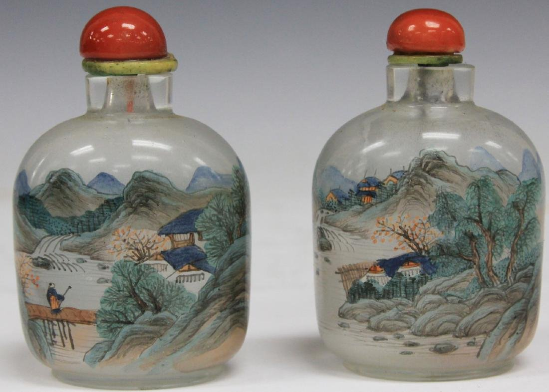 "PAIR OF CHINESE GLASS SNUFF BOTTLES, 3 1/2"" H - 2"