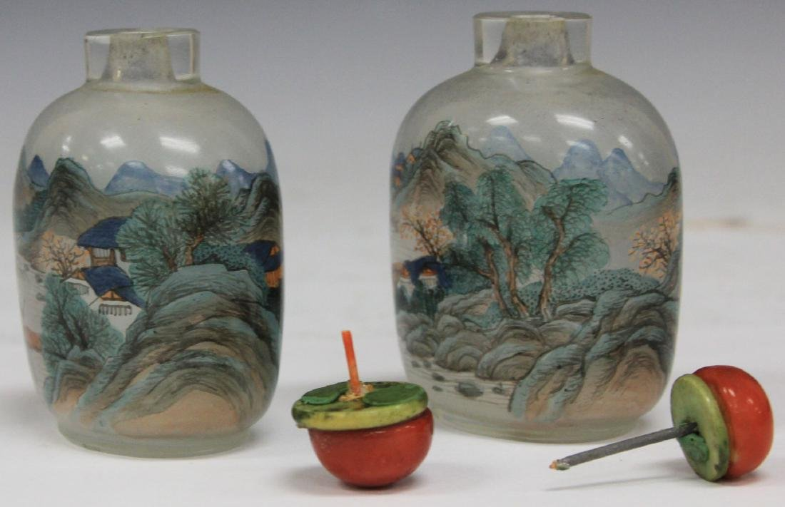 "PAIR OF CHINESE GLASS SNUFF BOTTLES, 3 1/2"" H - 3"