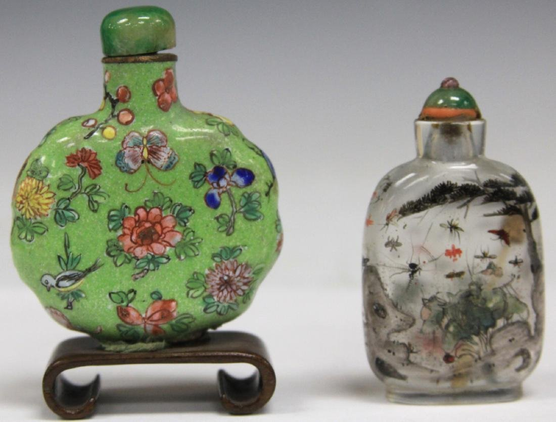 LOT OF (2) CHINESE SNUFF BOTTLES PORCELAIN & GLASS
