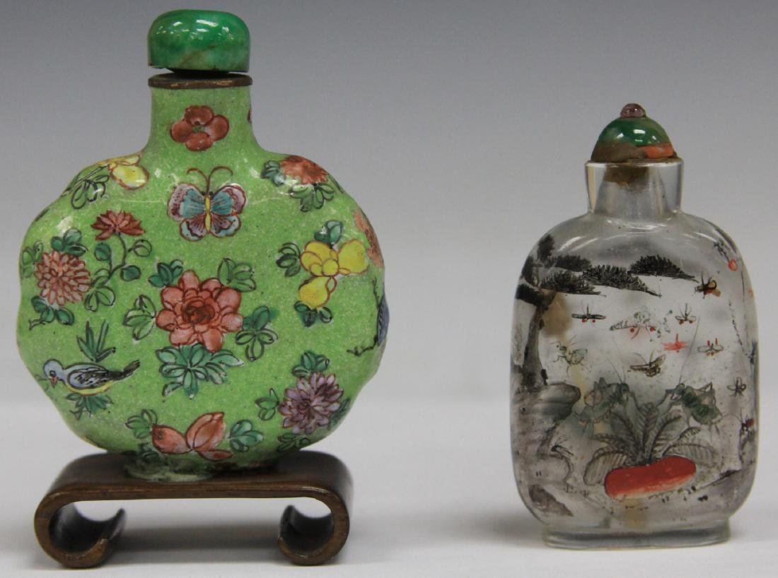 LOT OF (2) CHINESE SNUFF BOTTLES PORCELAIN & GLASS - 2